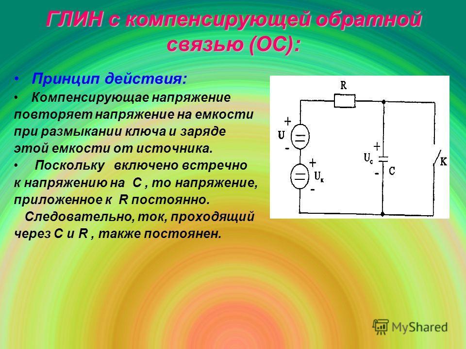 ГЛИН с компенсирующей обратной связью (ОС): Принцип действия: Компенсирующае напряжение повторяет напряжение на емкости при размыкании ключа и заряде этой емкости от источника. Поскольку включено встречно к напряжению на С, то напряжение, приложенное
