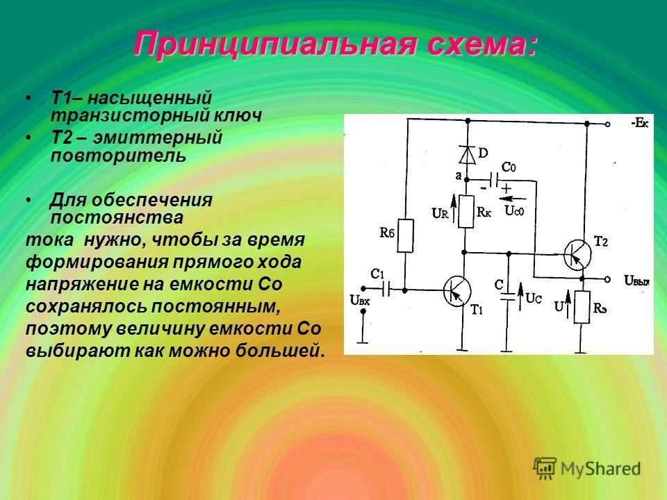 Принципиальная схема: Т1– насыщенный транзисторный ключ Т2 – эмиттерный повторитель Для обеспечения постоянства тока нужно, чтобы за время формирования прямого хода напряжение на емкости Со сохранялось постоянным, поэтому величину емкости Со выбирают