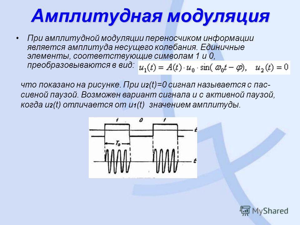 Амплитудная модуляция При амплитудной модуляции переносчиком информации является амплитуда несущего колебания. Единичные элементы, соответствующие символам 1 и 0, преобразовываются в вид: что показано на рисунке. При u 2 (t)=0 сигнал называется с пас