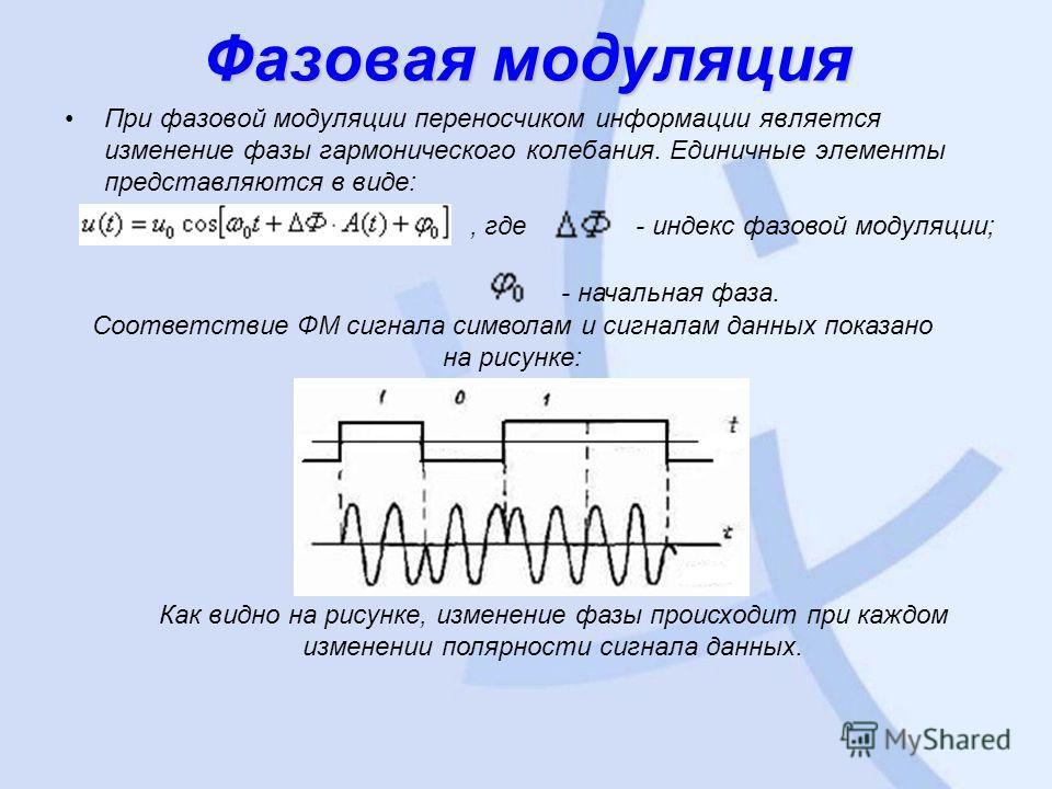 Фазовая модуляция При фазовой модуляции переносчиком информации является изменение фазы гармонического колебания. Единичные элементы представляются в виде:, где - индекс фазовой модуляции; - начальная фаза. Соответствие ФМ сигнала символам и сигналам