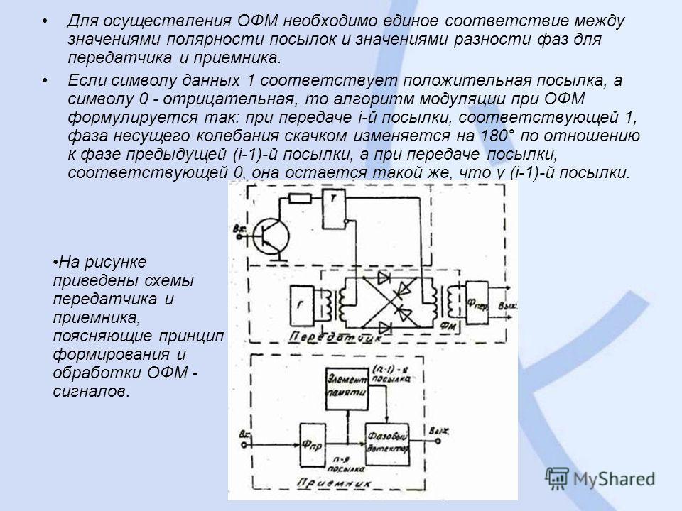 Для осуществления ОФМ необходимо единое соответствие между значениями полярности посылок и значениями разности фаз для передатчика и приемника. Если символу данных 1 соответствует положительная посылка, а символу 0 - отрицательная, то алгоритм модуля