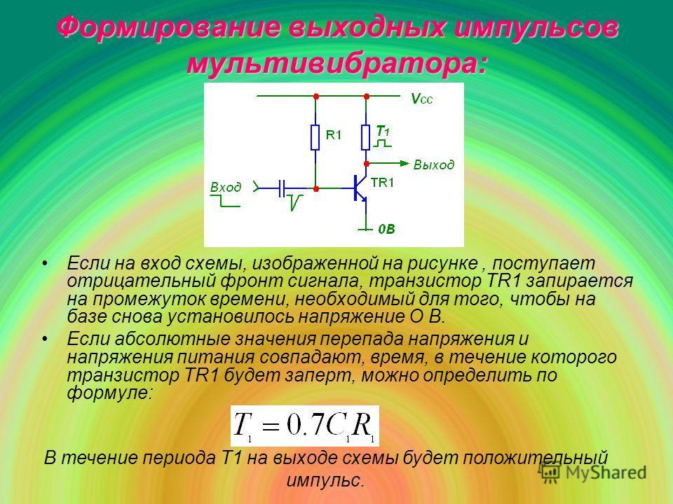 Если на вход схемы, изображенной на рисунке, поступает отрицательный фронт сигнала, транзистор TR1 запирается на промежуток времени, необходимый для того, чтобы на базе снова установилось напряжение О В. Если абсолютные значения перепада напряжения и