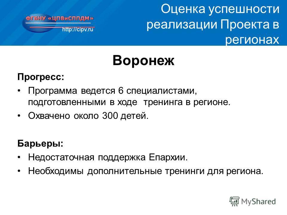 Воронеж Прогресс: Программа ведется 6 специалистами, подготовленными в ходе тренинга в регионе. Охвачено около 300 детей. Барьеры: Недостаточная поддержка Епархии. Необходимы дополнительные тренинги для региона. Оценка успешности реализации Проекта в