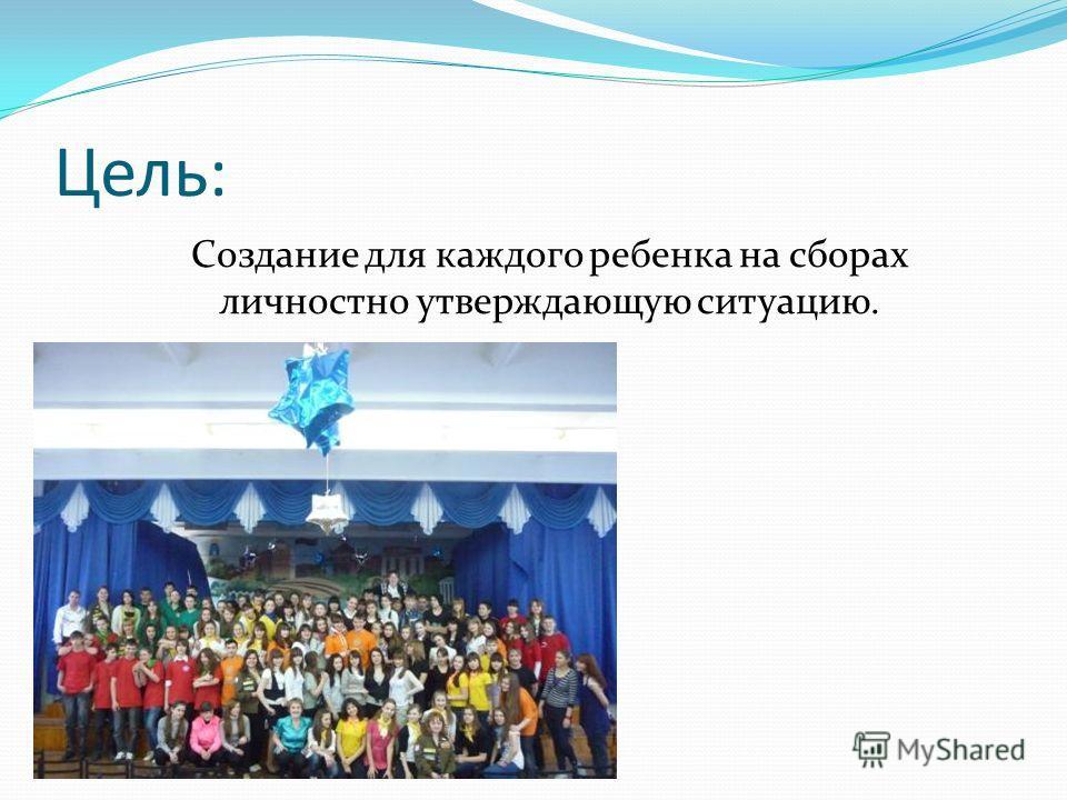 Цель: Создание для каждого ребенка на сборах личностно утверждающую ситуацию.