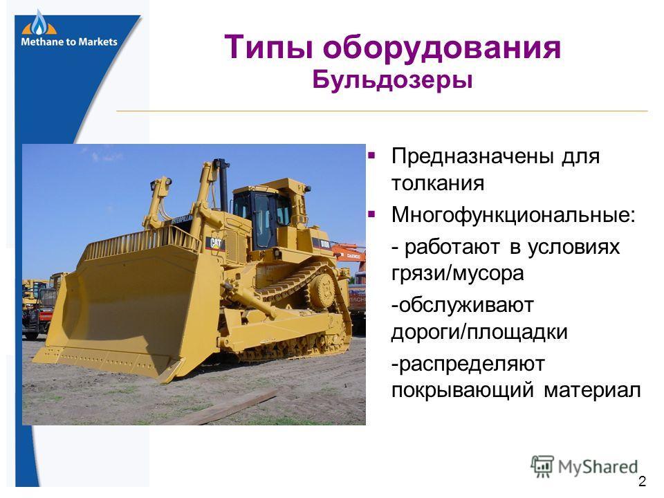 2 Типы оборудования Бульдозеры Предназначены для толкания Многофункциональные: - работают в условиях грязи/мусора -обслуживают дороги/площадки -распределяют покрывающий материал