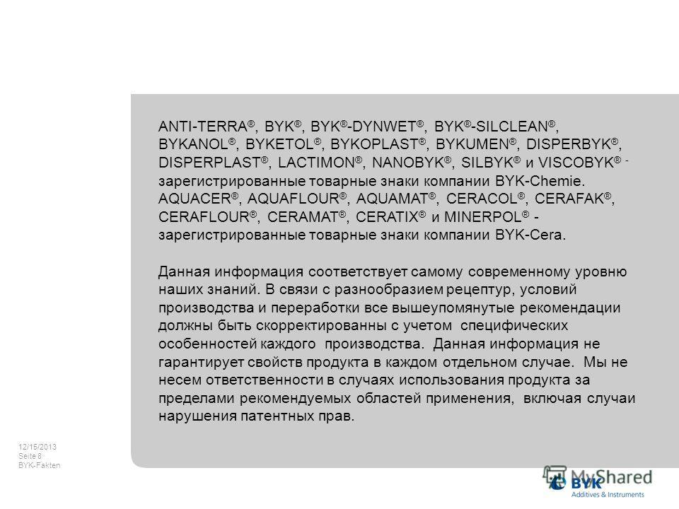 12/15/2013 Seite 8 BYK-Fakten ANTI-TERRA ®, BYK ®, BYK ® -DYNWET ®, BYK ® -SILCLEAN ®, BYKANOL ®, BYKETOL ®, BYKOPLAST ®, BYKUMEN ®, DISPERBYK ®, DISPERPLAST ®, LACTIMON ®, NANOBYK ®, SILBYK ® и VISCOBYK ® - зарегистрированные товарные знаки компании