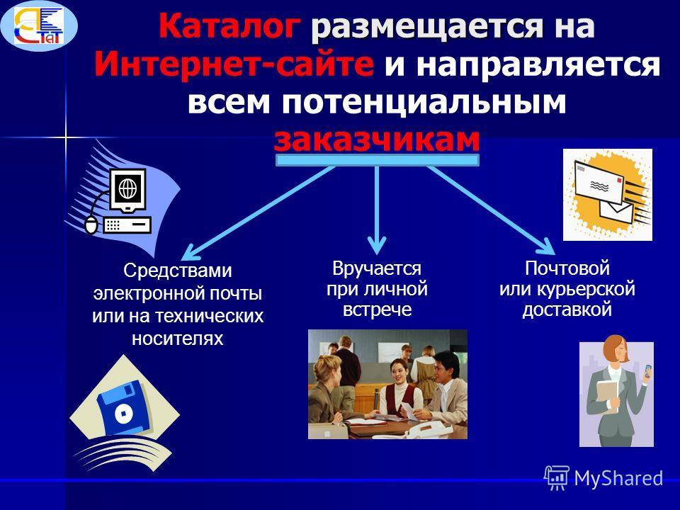 размещается Каталог размещается на Интернет-сайте и направляется всем потенциальным заказчикам Средствами электронной почты или на технических носителях Почтовой или курьерской доставкой Вручается при личной встрече