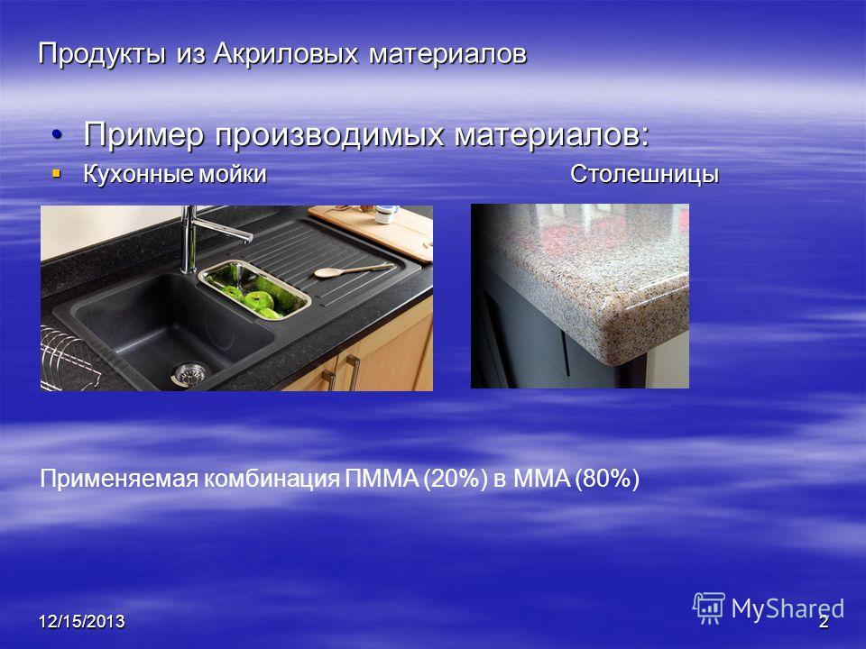 12/15/20132 Продукты из Акриловых материалов Пример производимых материалов:Пример производимых материалов: Кухонные мойкиСтолешницы Кухонные мойкиСтолешницы Применяемая комбинация ПMMA (20%) в MMA (80%)