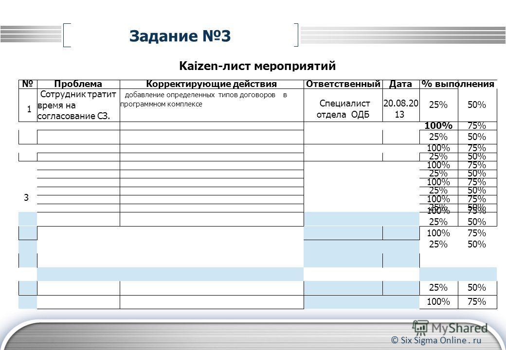 © Six Sigma Online. ru Задание 3