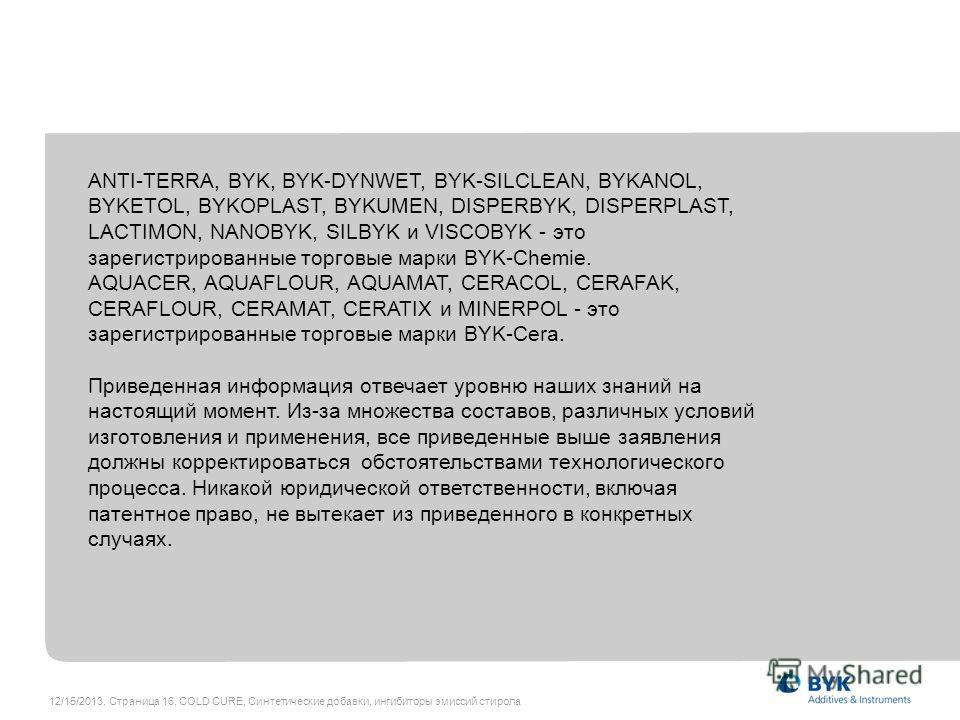 12/15/2013, Страница 16, COLD CURE, Синтетические добавки, ингибиторы эмиссий стирола ANTI-TERRA, BYK, BYK-DYNWET, BYK-SILCLEAN, BYKANOL, BYKETOL, BYKOPLAST, BYKUMEN, DISPERBYK, DISPERPLAST, LACTIMON, NANOBYK, SILBYK и VISCOBYK - это зарегистрированн