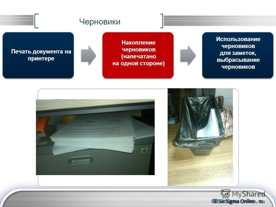 © Six Sigma Online. ru Черновики Печать документа на принтере Использование черновиков для заметок, выбрасывание черновиков Накопление черновиков (напечатано на одной стороне)