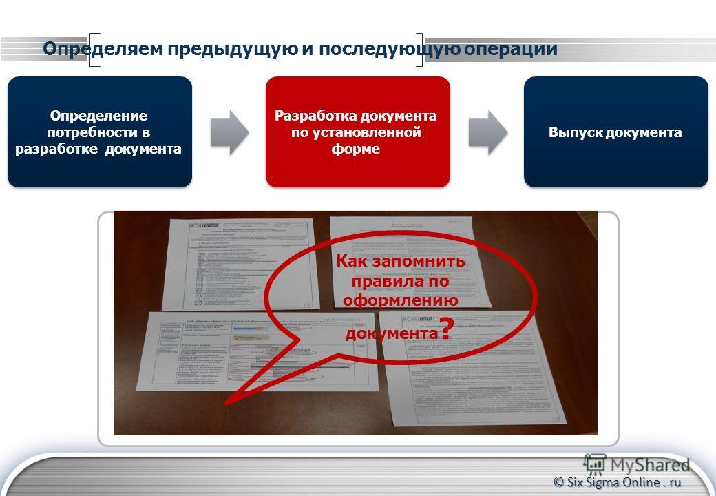 © Six Sigma Online. ru Определяем предыдущую и последующую операции Определение потребности в разработке документа Выпуск документа Разработка документа по установленной форме Как запомнить правила по оформлению документа ?