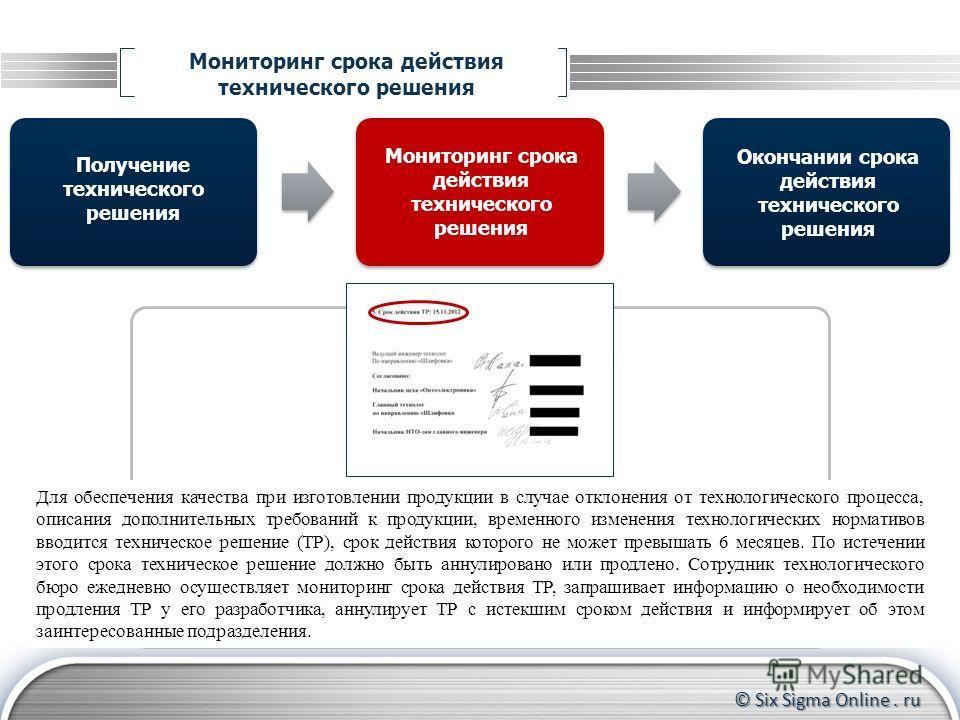 © Six Sigma Online. ru Мониторинг срока действия технического решения Получение технического решения Окончании срока действия технического решения Для обеспечения качества при изготовлении продукции в случае отклонения от технологического процесса, о