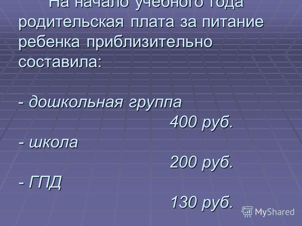 На начало учебного года родительская плата за питание ребенка приблизительно составила: - дошкольная группа 400 руб. - школа 200 руб. - ГПД 130 руб.