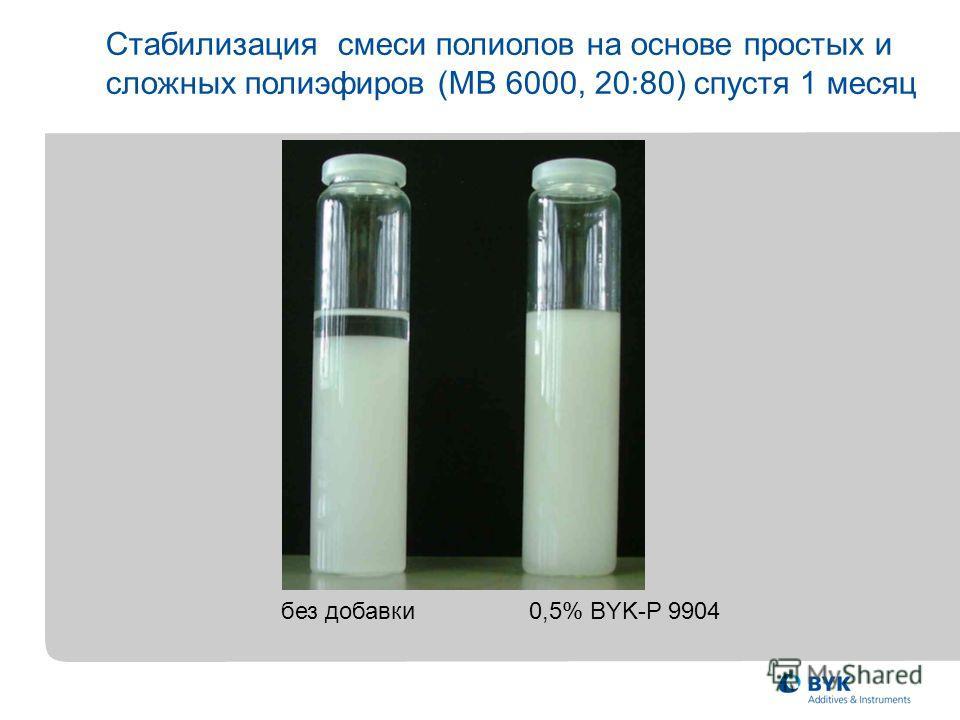 Стабилизация смеси полиолов на основе простых и сложных полиэфиров (MВ 6000, 20:80) спустя 1 месяц без добавки 0,5% BYK-P 9904