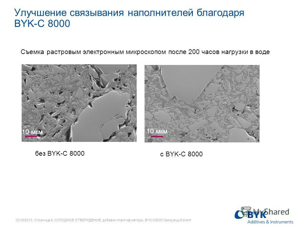 12/15/2013, Страница 9, ХОЛОДНОЕ ОТВЕРЖДЕНИЕ, добавки-пластификаторы, BYK-C8000 Связующий агент Улучшение связывания наполнителей благодаря BYK-C 8000 без BYK-C 8000 с BYK-C 8000 10 мкм Съемка растровым электронным микроскопом после 200 часов нагрузк