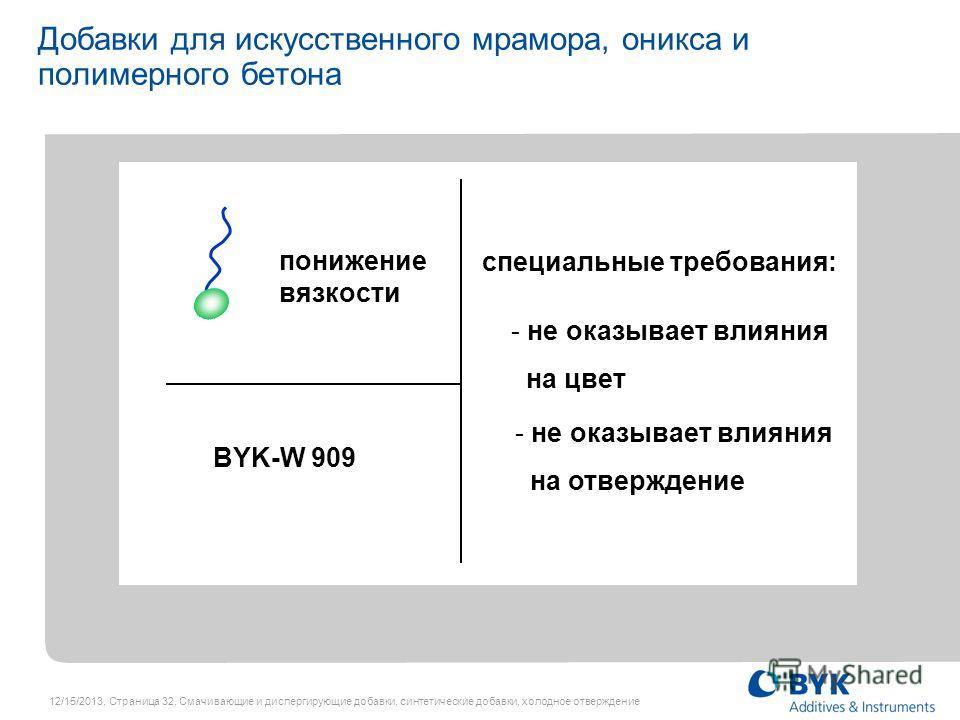 12/15/2013, Страница 32, Смачивающие и диспергирующие добавки, синтетические добавки, холодное отверждение BYK-W 909 Добавки для искусственного мрамора, оникса и полимерного бетона понижение вязкости специальные требования: - не оказывает влияния на