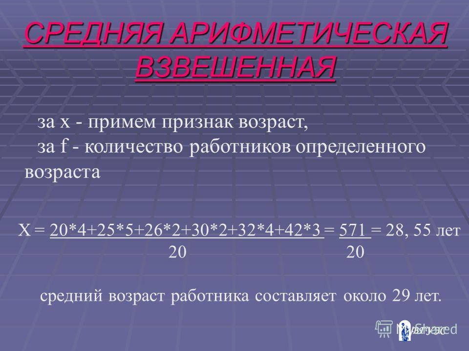 СРЕДНЯЯ АРИФМЕТИЧЕСКАЯ ВЗВЕШЕННАЯ за х - примем признак возраст, за f - количество работников определенного возраста Х = 20*4+25*5+26*2+30*2+32*4+42*3 = 571 = 28, 55 лет 20 20 средний возраст работника составляет около 29 лет.
