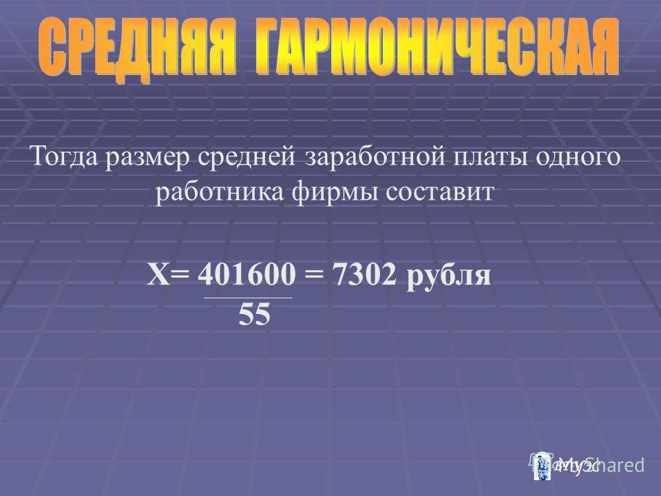 Тогда размер средней заработной платы одного работника фирмы составит Х= 401600 = 7302 рубля 55