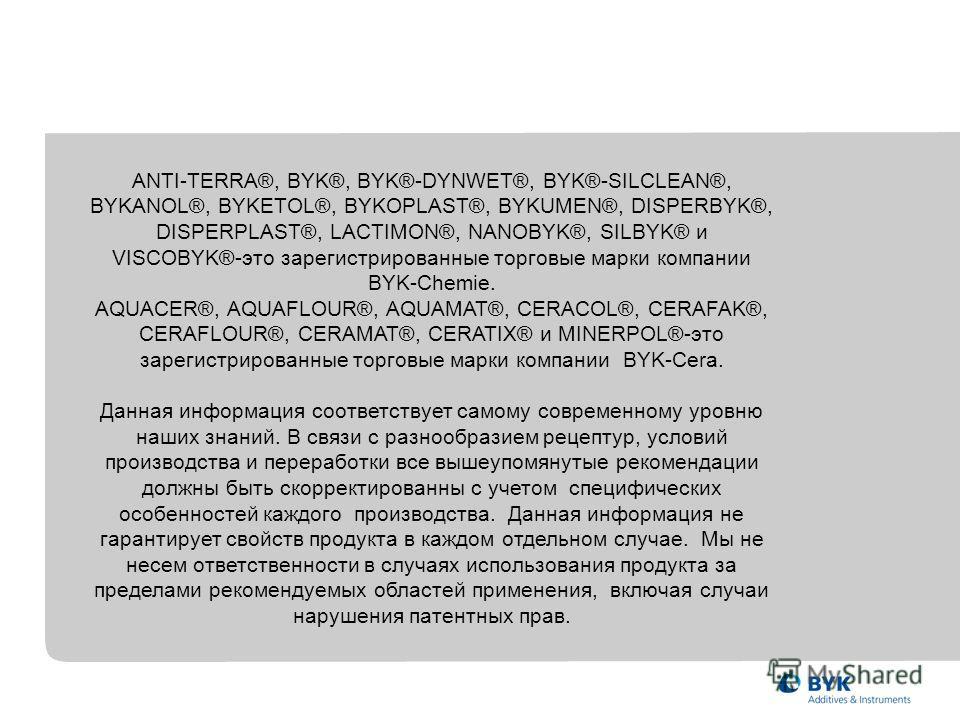 ANTI-TERRA®, BYK®, BYK®-DYNWET®, BYK®-SILCLEAN®, BYKANOL®, BYKETOL®, BYKOPLAST®, BYKUMEN®, DISPERBYK®, DISPERPLAST®, LACTIMON®, NANOBYK®, SILBYK® и VISCOBYK®-это зарегистрированные торговые марки компании BYK-Chemie. AQUACER®, AQUAFLOUR®, AQUAMAT®, C