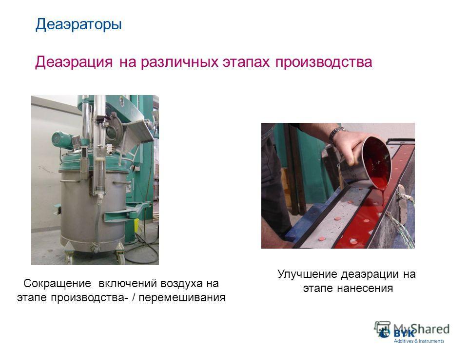 Сокращение включений воздуха на этапе производства- / перемешивания Деаэраторы Деаэрация на различных этапах производства Улучшение деаэрации на этапе нанесения