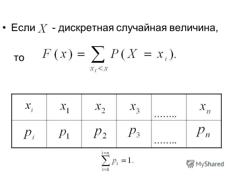 Если - дискретная случайная величина, то ……..