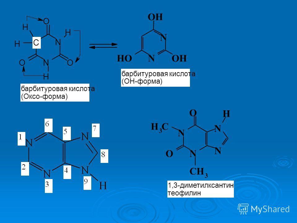 N N OH OH OH N N O O O H H H H барбитуровая кислота (ОН-форма) C барбитуровая кислота (Оксо-форма) N N N N CH 3 O CH 3 O H 1,3-диметилксантин теофилин