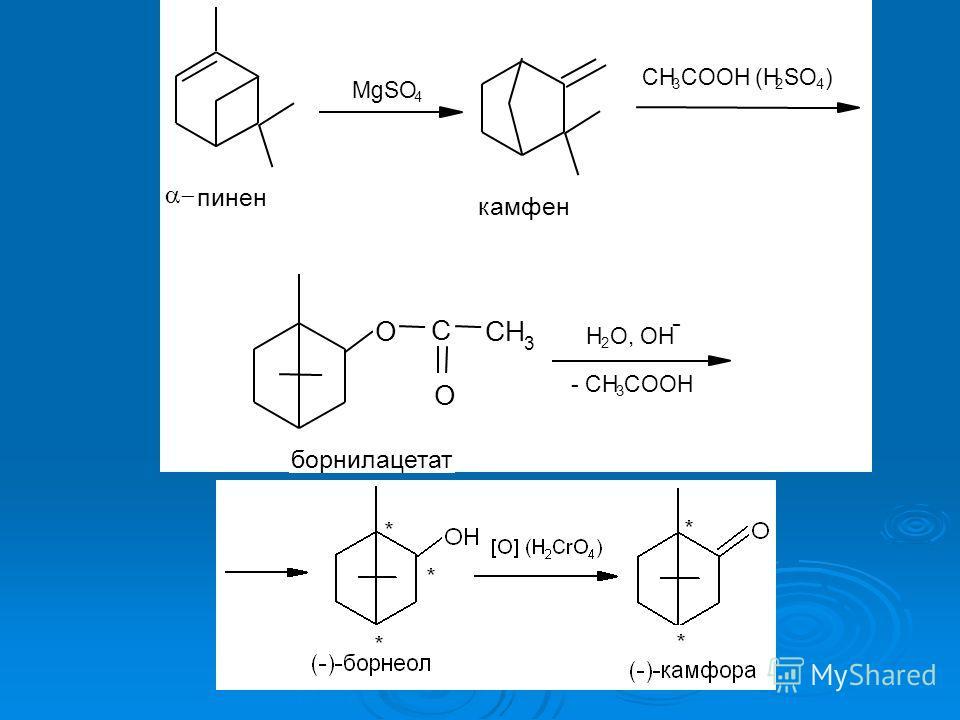 MgSO 4 пинен камфен CH 3 COOH (H 2 SO 4 ) O C CH 3 O борнилацетат H 2 O, OH - - CH 3 COOH