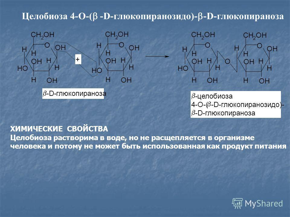 Целобиоза 4-О-( -D-глюкопиранозидо)- -D-глюкопираноза ХИМИЧЕСКИЕ СВОЙСТВА Целобиоза растворима в воде, но не расщепляется в организме человека и потому не может быть использованная как продукт питания