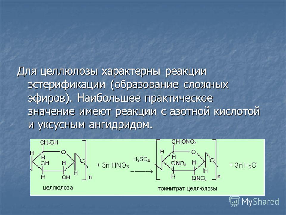 Для целлюлозы характерны реакции эстерификации (образование сложных эфиров). Наибольшее практическое значение имеют реакции с азотной кислотой и уксусным ангидридом.