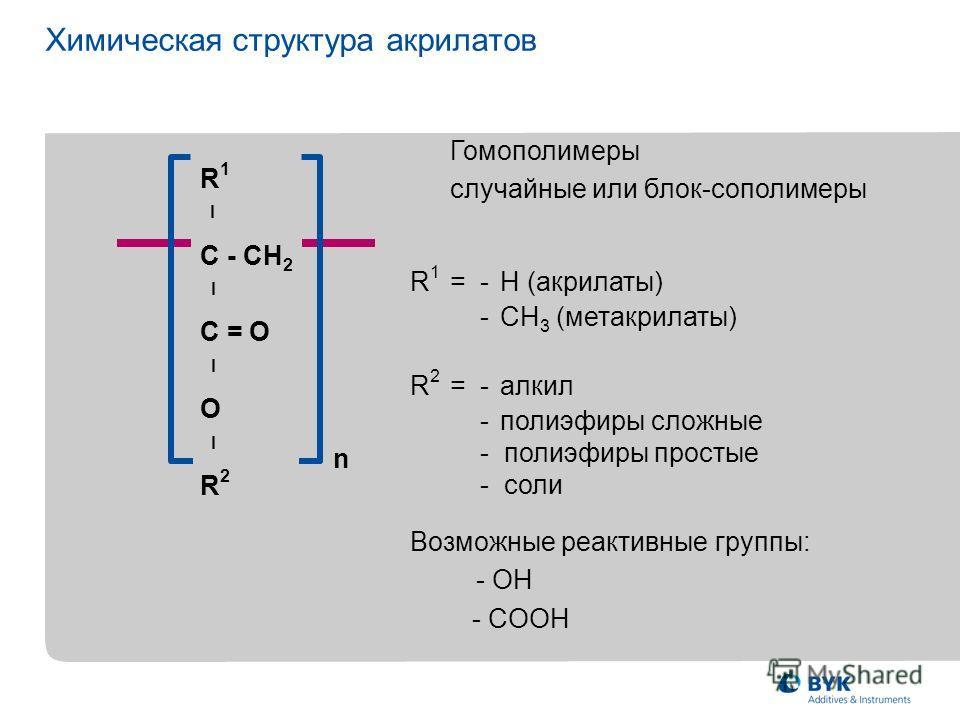 n R 1 l C - CH 2 l C = O l O l R 2 Гомополимеры случайные или блок-сополимеры R 1 =-H (акрилаты) -CH 3 (метакрилаты) Возможные реактивные группы: - OH - COOH R 2 =-алкил -полиэфиры сложные - полиэфиры простые - соли Химическая структура акрилатов