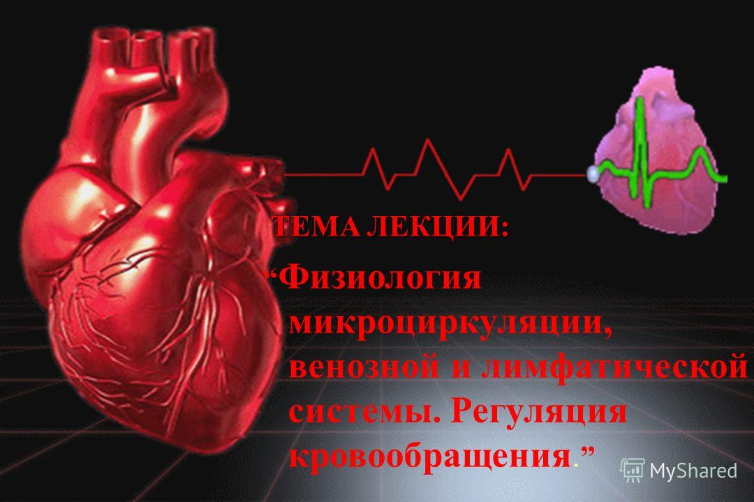 ТЕМА ЛЕКЦИИ: Физиология микроциркуляции, венозной и лимфатической системы. Регуляция кровообращения.
