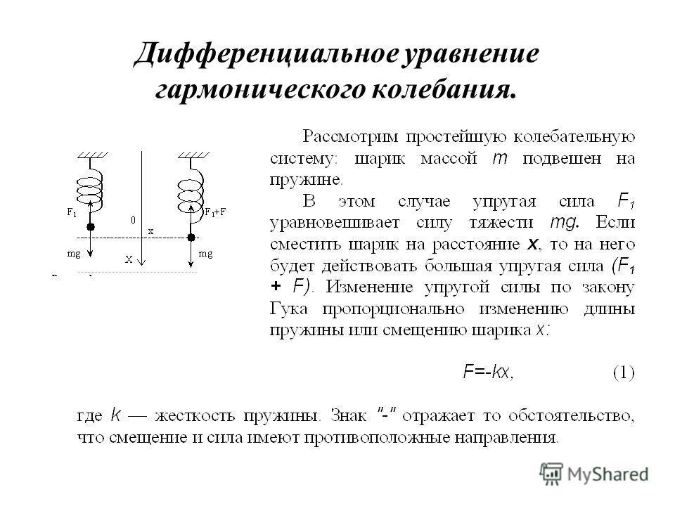 Дифференциальное уравнение гармонического колебания.