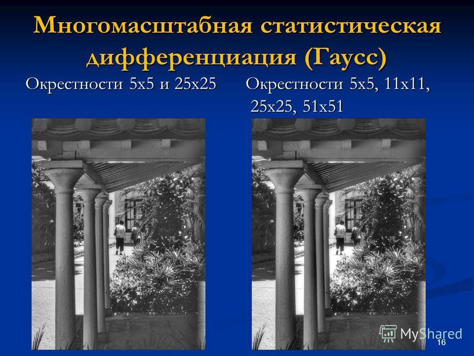 16 Многомасштабная статистическая дифференциация (Гаусс) Окрестности 5х5 и 25х25 Окрестности 5х5, 11х11, 25х25, 51х51