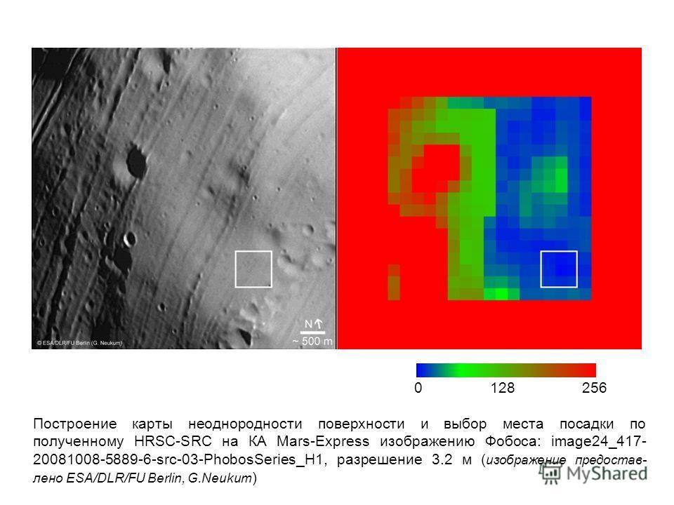 Построение карты неоднородности поверхности и выбор места посадки по полученному HRSC-SRC на КА Mars-Express изображению Фобоса: image24_417- 20081008-5889-6-src-03-PhobosSeries_H1, разрешение 3.2 м ( изображение предостав- лено ESA/DLR/FU Berlin, G.