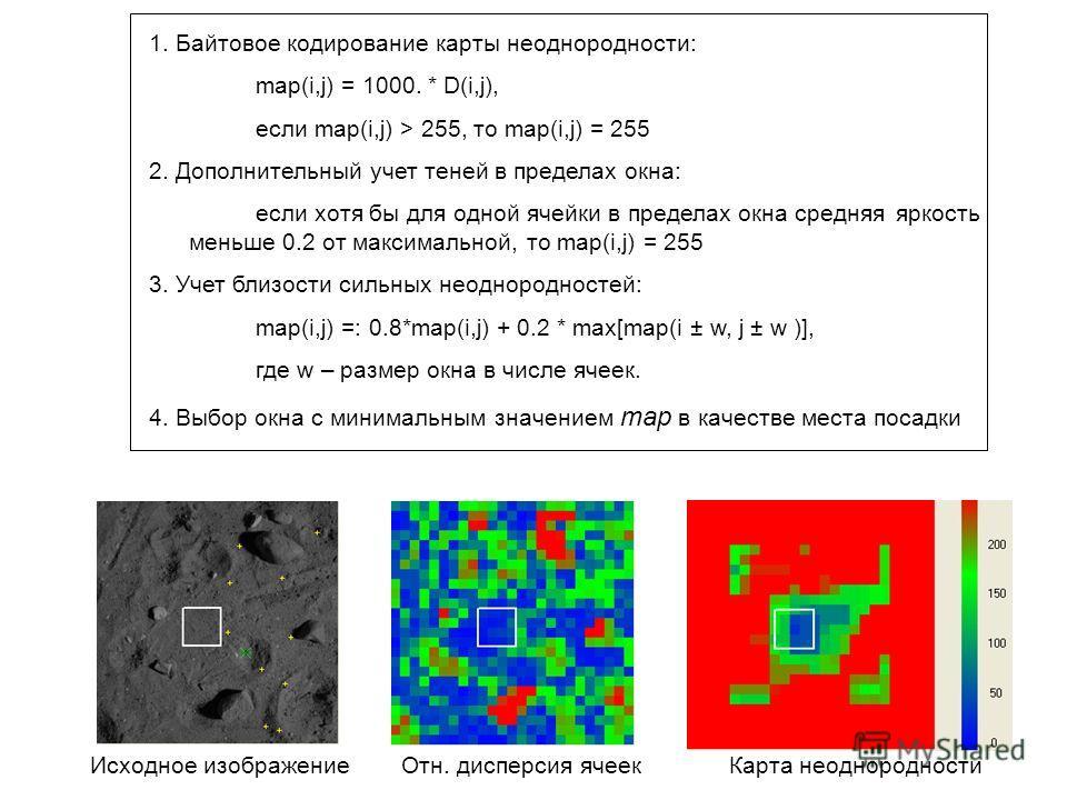 1. Байтовое кодирование карты неоднородности: map(i,j) = 1000. * D(i,j), если map(i,j) > 255, то map(i,j) = 255 2. Дополнительный учет теней в пределах окна: если хотя бы для одной ячейки в пределах окна средняя яркость меньше 0.2 от максимальной, то