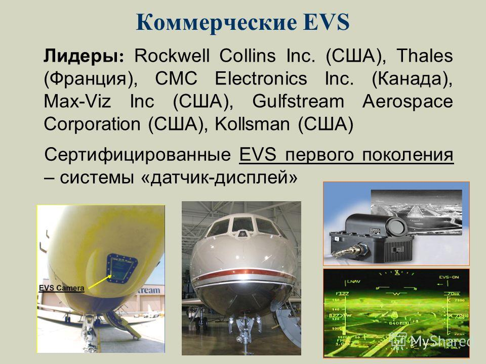 Коммерческие EVS Лидеры : Rockwell Collins Inc. (США), Thales (Франция), CMC Electronics Inc. (Канада), Max-Viz Inc (США), Gulfstream Aerospace Corporation (США), Kollsman (США) Сертифицированные EVS первого поколения – системы «датчик-дисплей»