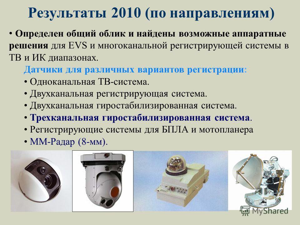 Определен общий облик и найдены возможные аппаратные решения для EVS и многоканальной регистрирующей системы в ТВ и ИК диапазонах. Датчики для различных вариантов регистрации: Одноканальная ТВ-система. Двухканальная регистрирующая система. Двухканаль