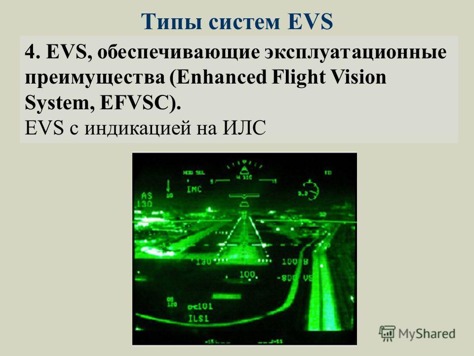Типы систем EVS 4. EVS, обеспечивающие эксплуатационные преимущества (Enhanced Flight Vision System, EFVSС). EVS с индикацией на ИЛС