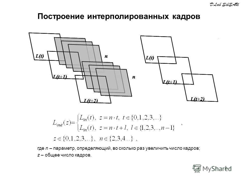 6 где n – параметр, определяющий, во сколько раз увеличить число кадров; z – общее число кадров. DLab SibSAU Построение интерполированных кадров