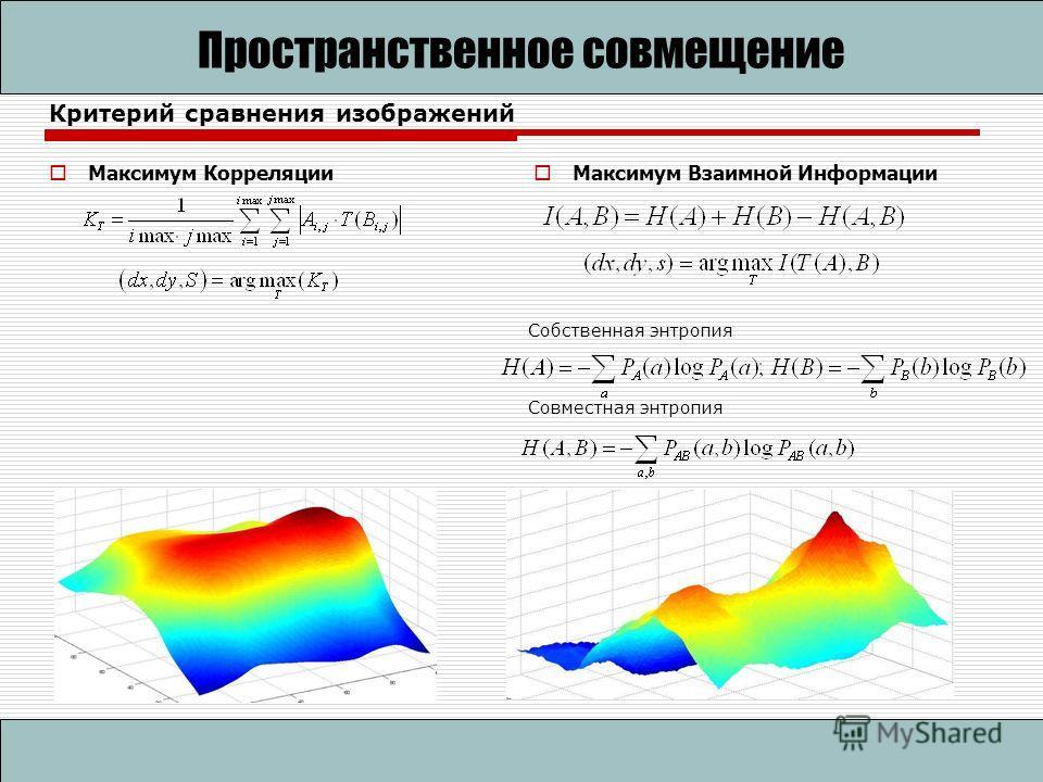 Критерий сравнения изображений Максимум Корреляции Пространственное совмещение Максимум Взаимной Информации Собственная энтропия Совместная энтропия
