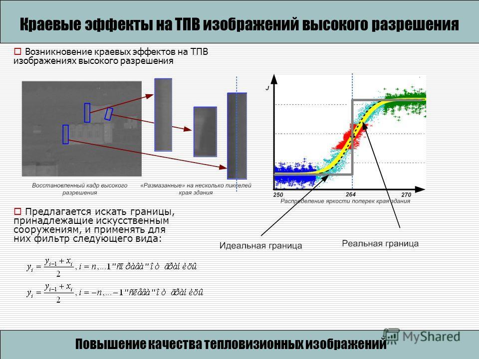 Повышение качества тепловизионных изображений на основе анализа сцен Краевые эффекты на ТПВ изображений высокого разрешения Предлагается искать границы, принадлежащие искусственным сооружениям, и применять для них фильтр следующего вида: Возникновени