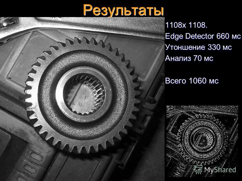 Результаты 1108x 1108. Edge Detector 660 мс Утоншение 330 мс Анализ 70 мс Всего 1060 мс