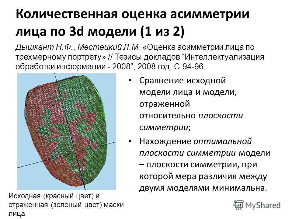 Количественная оценка асимметрии лица по 3d модели (1 из 2) Сравнение исходной модели лица и модели, отраженной относительно плоскости симметрии; Нахождение оптимальной плоскости симметрии модели – плоскости симметрии, при которой мера различия между