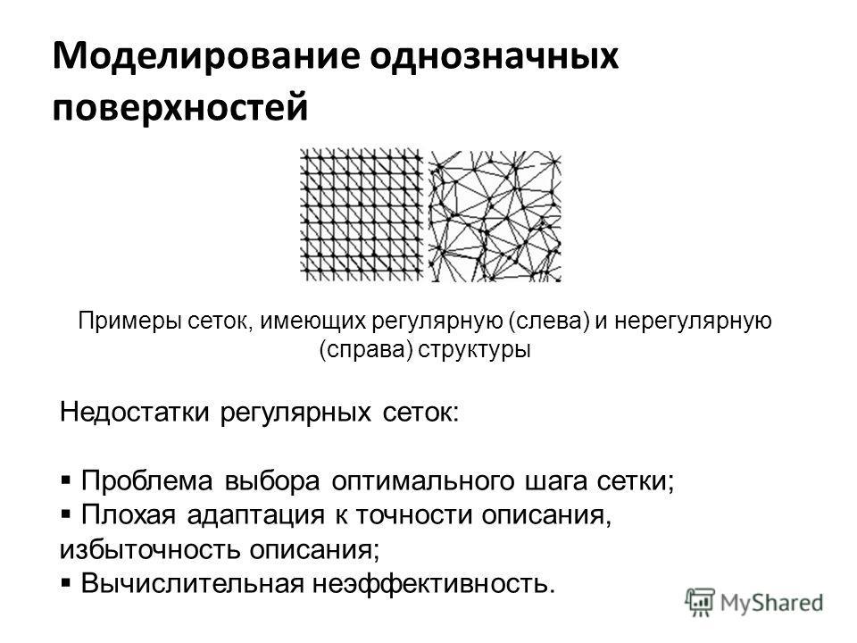 Моделирование однозначных поверхностей Примеры сеток, имеющих регулярную (слева) и нерегулярную (справа) структуры Недостатки регулярных сеток: Проблема выбора оптимального шага сетки; Плохая адаптация к точности описания, избыточность описания; Вычи