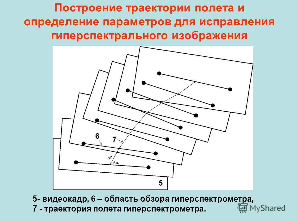Построение траектории полета и определение параметров для исправления гиперспектрального изображения 5- видеокадр, 6 – область обзора гиперспектрометра, 7 - траектория полета гиперспектрометра.