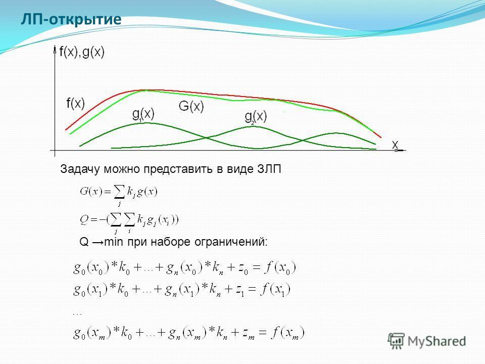 ЛП-открытие Задачу можно представить в виде ЗЛП Q min при наборе ограничений: