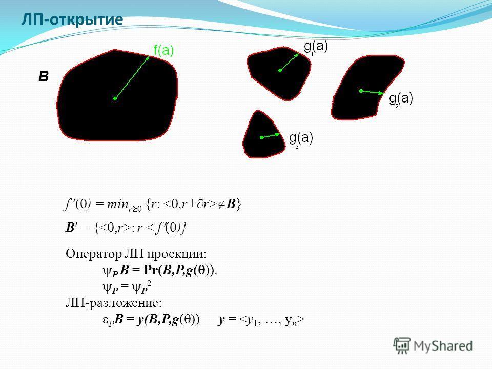 ЛП-открытие f( ) = min r 0 {r: B} B B = { : r < f ( )} Оператор ЛП проекции: P B = Pr(B,P,g( )). P = P 2 ЛП-разложение: P B = y(B,P,g( )) y =