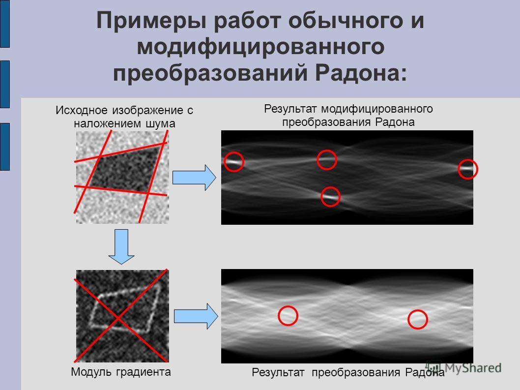 Примеры работ обычного и модифицированного преобразований Радона: Исходное изображение с наложением шума Модуль градиента Результат модифицированного преобразования Радона Результат преобразования Радона