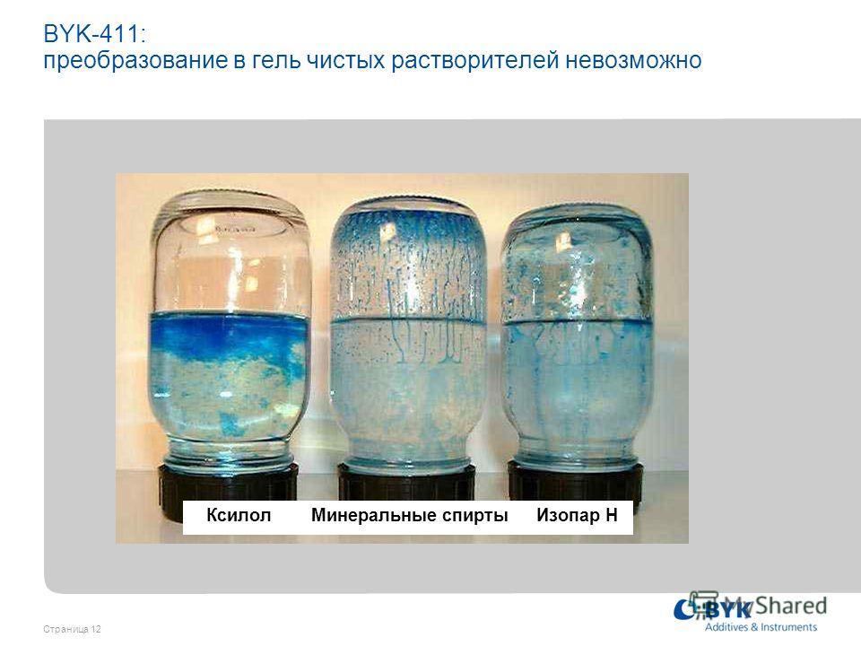 Страница 12 BYK-411: преобразование в гель чистых растворителей невозможно Ксилол Минеральные спирты Изопар H